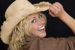Feliz en un sombrero Foto de archivo libre de regalías