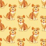 Feliz engraçado do teste padrão sem emenda do cão do marrom da aquarela ilustração royalty free