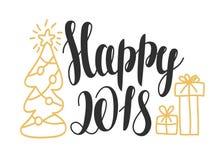2018 feliz - entregue elementos tirados do projeto para o cartão Projeto de cartão do ano novo com ` feliz do ` da rotulação 2018 ilustração royalty free