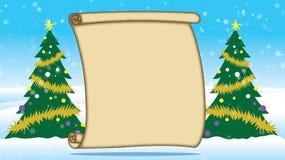 Feliz exterior de los árboles de navidad en nieve con un pergamino en blanco libre illustration