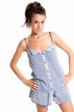 Feliz femenino joven de los pijamas que desgasta aislado Fotografía de archivo libre de regalías