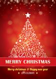 Feliz fiesta de Navidad para el diseño del folleto del aviador en backgroun rojo libre illustration