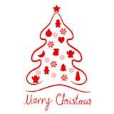 Feliz fondo rojo del icono de la tarjeta de los elementos del árbol de navidad libre illustration