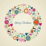 Feliz guirnalda de los elementos de la Navidad del vintage Fotos de archivo
