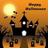 Feliz Halloween - castillo curvado silueta debajo de la Luna Llena stock de ilustración