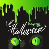 Feliz Halloween Cat Cute Vector Design negra Descensos verdes del vector Imagen de archivo libre de regalías