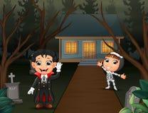 Feliz Halloween con el vampiro y el esqueleto en el Home Page stock de ilustración