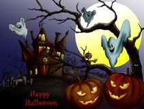 Feliz Halloween con la calabaza, la casa encantada y la Luna Llena Invi stock de ilustración