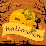 Feliz Halloween del cartel con la calabaza y el gato Foto de archivo