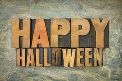 Feliz Halloween en el tipo de madera Foto de archivo