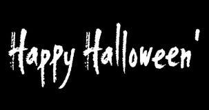 Feliz Halloween escrito mano animada de la caligrafía en fondo negro