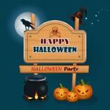 Feliz Halloween, fondo con una caldera mágica de la bruja y muestra de madera Fotografía de archivo libre de regalías