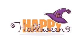 Feliz Halloween, saludo del vector o invitación con l dibujado mano Fotos de archivo