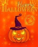 ¡Feliz Halloween! Tarjeta de felicitación Ilustración del vector Fotos de archivo