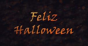 Feliz Halloween-Text in der spanischen Auflösung in Staub zum einen Tiefstand zu erreichen stock abbildung