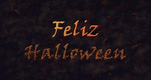 Feliz Halloween-Text in der spanischen Auflösung in Staub zum einen Tiefstand zu erreichen Stockbilder