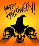 Feliz Halloween tres cráneos negros espeluznantes libre illustration