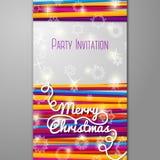 Feliz invitación de la fiesta de Navidad - cordones brillantes encendido Imagen de archivo