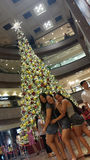 Feliz junto com amigos no Natal do pomar Fotos de Stock Royalty Free