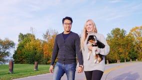 Feliz junto com seu cão amado Pares multi-étnicos que andam no parque com seu cão A mulher caucasiano leva a