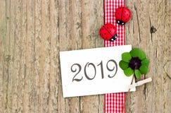 Feliz, Lucky New Year 2019 imagem de stock royalty free