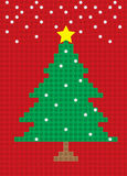 Feliz modelo del bloque de la postal del árbol de navidad Imágenes de archivo libres de regalías