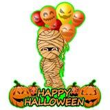 Feliz momia con feliz Halloween de los deseos de los globos Imagenes de archivo