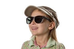 Feliz - muchacha en sombrero y gafas de sol verdes Imagen de archivo libre de regalías
