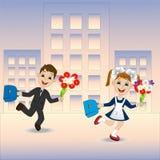 Feliz muchacha y muchacho que corren a la escuela libre illustration