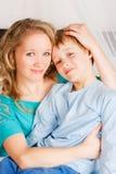 Feliz mujer con un hijo Fotografía de archivo libre de regalías