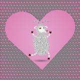 Feliz na cabra macia dos desenhos animados brancos engraçados do amor ilustração do vetor
