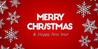 Feliz Natal & ano novo feliz como o cumprimento no fundo vermelho ilustração stock
