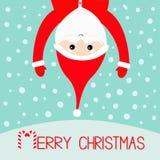 Feliz Natal Bastão de doces Suspensão de Santa Claus de cabeça para baixo Chapéu vermelho, traje, barba grande, mãos Charac engra Fotos de Stock