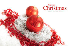 Feliz Natal - baubles vermelhos Imagens de Stock