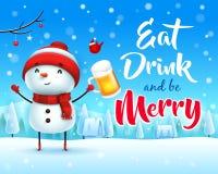 Feliz Natal! Boneco de neve alegre com cerveja na paisagem do inverno da cena da neve do Natal ilustração do vetor