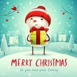 Feliz Natal! Boneco de neve alegre com presente do presente na paisagem do inverno da cena da neve do Natal ilustração royalty free