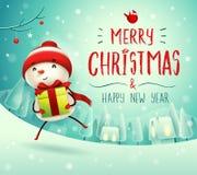 Feliz Natal! Boneco de neve alegre com presente do presente na paisagem do inverno da cena da neve do Natal ilustração stock