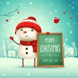 Feliz Natal! Boneco de neve alegre com quadro de mensagens na paisagem do inverno da cena da neve do Natal ilustração royalty free