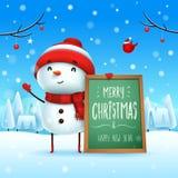 Feliz Natal! Boneco de neve alegre com quadro de mensagens na paisagem do inverno da cena da neve do Natal ilustração do vetor