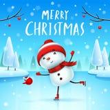 Feliz Natal! Boneco de neve alegre em patins na paisagem do inverno da cena da neve do Natal ilustração stock