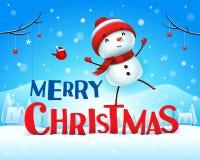 Feliz Natal! Boneco de neve alegre na paisagem do inverno da cena da neve do Natal ilustração do vetor