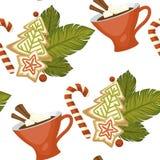 Feliz Natal café ou chá, teste padrão sem emenda da bebida morna ilustração royalty free