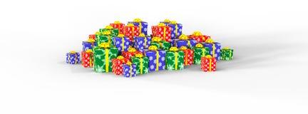 Feliz Natal. Caixas de presente em um fundo branco Imagem de Stock