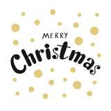 Feliz Natal caligráfico da frase com os pontos dourados nas FO brancas Fotos de Stock Royalty Free