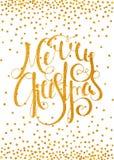 Feliz Natal caligráfico da inscrição do ouro Foto de Stock Royalty Free
