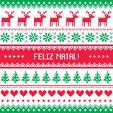 Feliz natal card - scandynavian christmas pattern Stock Photo