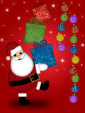 Feliz Natal carreg dos presentes de Papai Noel Foto de Stock Royalty Free
