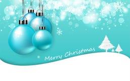 Feliz Natal, cartão azul macio, textura luxuosa do fundo do convite do cartaz, bolas coloridas do Natal brilhantes e árvore com n ilustração stock