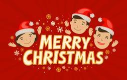 Feliz Natal, cartão Conceito do feriado Ilustração do vetor dos desenhos animados ilustração stock