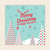 Feliz Natal, cartão do ano novo feliz ou molde do cartaz com fundo da árvore de Natal no vetor verde da cor da hortelã ilustração do vetor